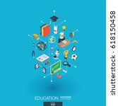education integrated 3d web... | Shutterstock .eps vector #618150458