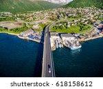 bridge of city tromso  norway... | Shutterstock . vector #618158612