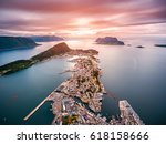 aksla at the city of alesund  ... | Shutterstock . vector #618158666