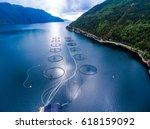 farm salmon fishing in norway... | Shutterstock . vector #618159092