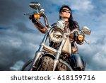 biker girl in a leather jacket... | Shutterstock . vector #618159716