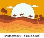 desert landscape with a caravan ...