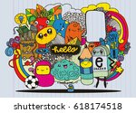 hipster hand drawn crazy doodle ... | Shutterstock .eps vector #618174518