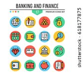 banking and finance icons.... | Shutterstock .eps vector #618177875