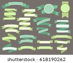 set of green vintage ribbons... | Shutterstock . vector #618190262