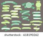 set of green vintage ribbons... | Shutterstock . vector #618190262