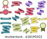 set of bright vintage ribbons...   Shutterstock . vector #618190322