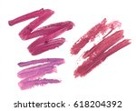 collection of smudged lipsticks ...   Shutterstock . vector #618204392