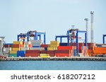 port cargo crane and container  ... | Shutterstock . vector #618207212