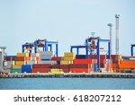 port cargo crane and container  ... | Shutterstock . vector #618207212