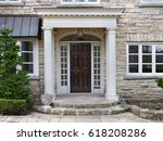 house front door with portico... | Shutterstock . vector #618208286