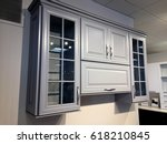 Stock photo kitchens cabinets wooden in gray 618210845