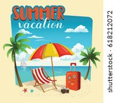 summer vacation template poster ... | Shutterstock .eps vector #618212072