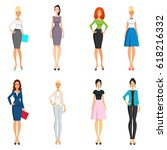 vector set of elegant girls in... | Shutterstock .eps vector #618216332