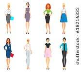 vector set of elegant girls in... | Shutterstock .eps vector #618216332