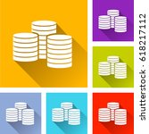 illustration of six coins icons | Shutterstock .eps vector #618217112