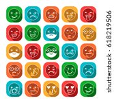 colored flat icons of emoticons.... | Shutterstock .eps vector #618219506