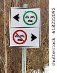 Small photo of Recreation vehicles allowed only on one side of a split trail.