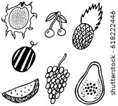 fruit collection for coloring... | Shutterstock .eps vector #618222446