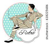 retro men s set  vector pretty... | Shutterstock .eps vector #618225686