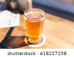 ipa or india pale ale beer in a ... | Shutterstock . vector #618227258