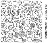 food set hand drawn doodle... | Shutterstock .eps vector #618232142