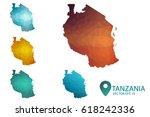 set of tanzania maps. bright...   Shutterstock .eps vector #618242336
