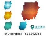 set of sudan maps. bright...   Shutterstock .eps vector #618242366