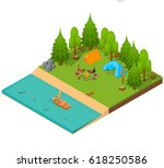 camping isometric view.... | Shutterstock .eps vector #618250586
