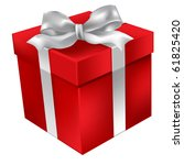 christmas red gift isolated on... | Shutterstock .eps vector #61825420