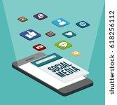 social media flat 3d isometric... | Shutterstock .eps vector #618256112
