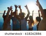 dancing buddies enjoying hot... | Shutterstock . vector #618262886