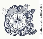 left and right brain tattoo art.... | Shutterstock .eps vector #618263375