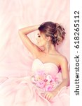 fashion bride girl  in gorgeous ... | Shutterstock . vector #618265112