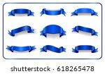 blue ribbons set. satin glossy... | Shutterstock .eps vector #618265478