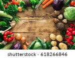 frame of different vegetables... | Shutterstock . vector #618266846