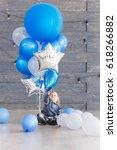 cute baby boy celebrating birth ...   Shutterstock . vector #618266882