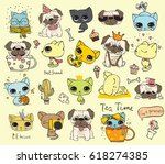 set of vector cute cats and... | Shutterstock .eps vector #618274385