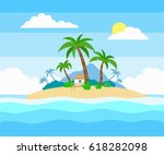tropical island in the ocean... | Shutterstock .eps vector #618282098
