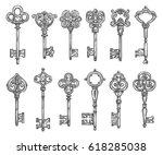 vintage keys sketch icons.... | Shutterstock .eps vector #618285038