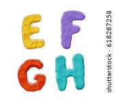plasticine e  f  g  h letters... | Shutterstock .eps vector #618287258