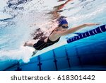 Woman Swimming Pool.underwater...