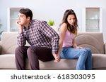 young family in broken... | Shutterstock . vector #618303095