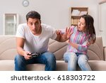 young family suffering from... | Shutterstock . vector #618303722