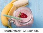 fresh strawberry smoothie | Shutterstock . vector #618304436