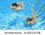 Children Swim In Pool...