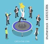 flat 3d isometric businessman... | Shutterstock .eps vector #618315386
