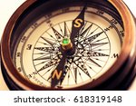 vintage metal compass in toning ... | Shutterstock . vector #618319148