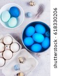 painting eggs in blue for... | Shutterstock . vector #618330206