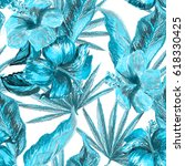 tropical floral pattern hand... | Shutterstock . vector #618330425